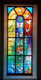 The three stained glass windows installed for the Bicentenary