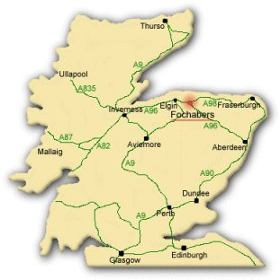 A map of Scotland, highlighting the Fochabers area